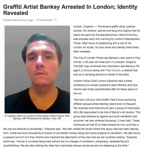 「バンクシー逮捕、実名と顔写真公開」 ネタニュースにネット上が