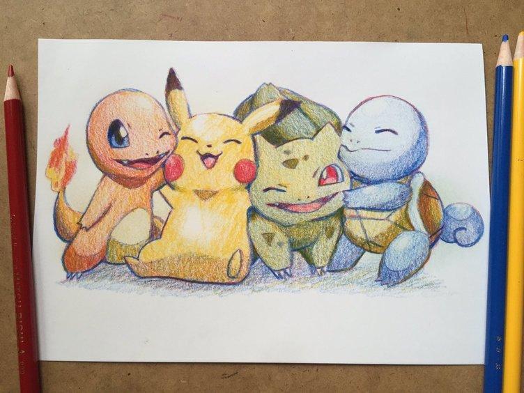 「ポケモン」ピカチュウたちを3色の色鉛筆だけで描いたイラストが圧巻