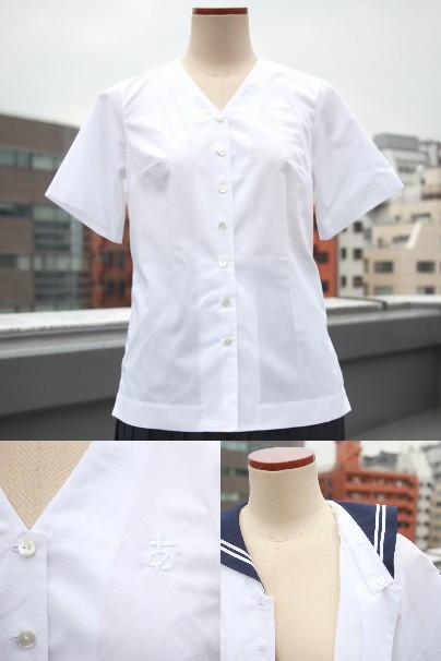 上:ブラウス全体、左下:ひらがな刺繍部分、右下:襟付け替え部分/(c)つけかえ制服