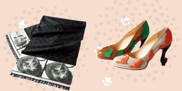 左:<岡村織物>シルクジャカードストールオーダー(59,400円) 右:<ちゃけちょけ>ネコパンプス セミオーダー (各23,544円)