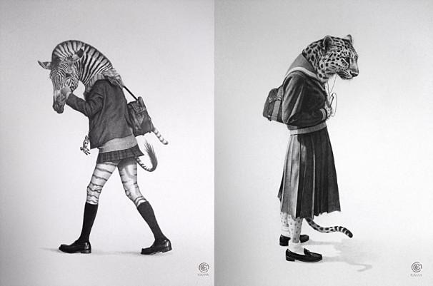 左「縞馬女子(Zebra girl)」、右「豹女子(leopard girl)」