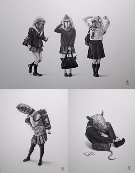 上「三猿女子(Three wise monkey girls)」、左下「海亀女子(Sea turtle girl)」、右下「鎧鼠女子(Armadillo girl)」