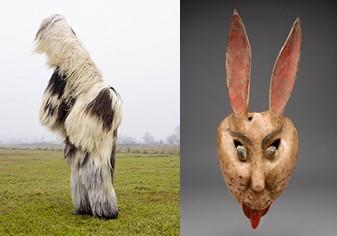 左:シャルル・フレジェ『WILDER MANN, バブゲリ〈ブルガリア / バンスコ〉』 右:『舞踏用仮面(兎) メキシコ合衆国』国立民族学博物館蔵/青森県立美術館Webサイトより