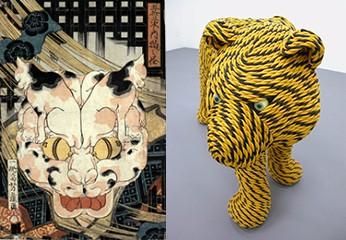 左:歌川芳藤『五拾三次之内猫之怪』 右:岡本光博『虎縄文』/青森県立美術館Webサイトより