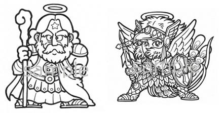 左:スーパーゼウス 右:ヘッドロココの原画/画像は特設ページより/(C) PARCO CO.,LTD. ALL RIGHTS RESERVED.