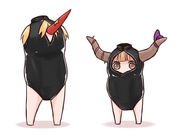 「鬼達に例の競泳水着を着せてみた」(バッタさん画・画像はニコニコ静画より)