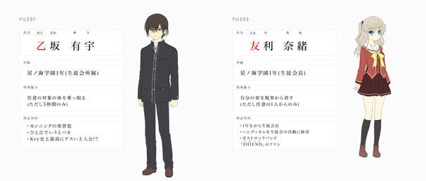 乙坂有宇と友利奈緒/公式Webサイトのスクリーンショット/(C)Visual Art's/Key/Charlotte Project