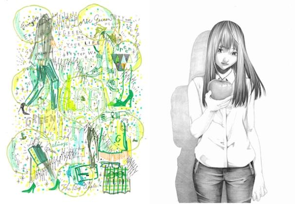 左:「GREEN MAKES LIFE BETTER」(関根正悟さん作) 右:「林檎齧り系女子」(大野そらさん作)