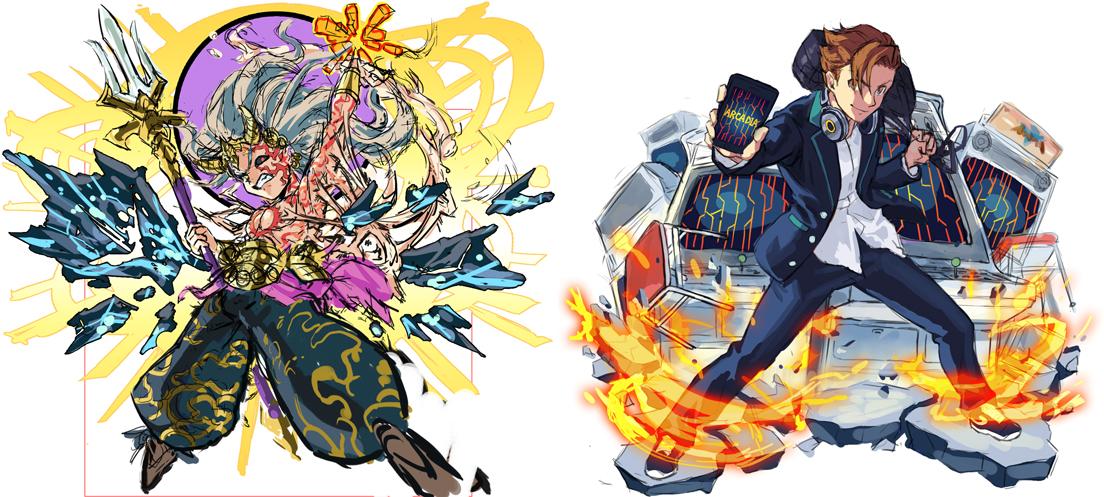 左「創世の始神 イザナギ」ラフ 右「アルカディア」ラフ
