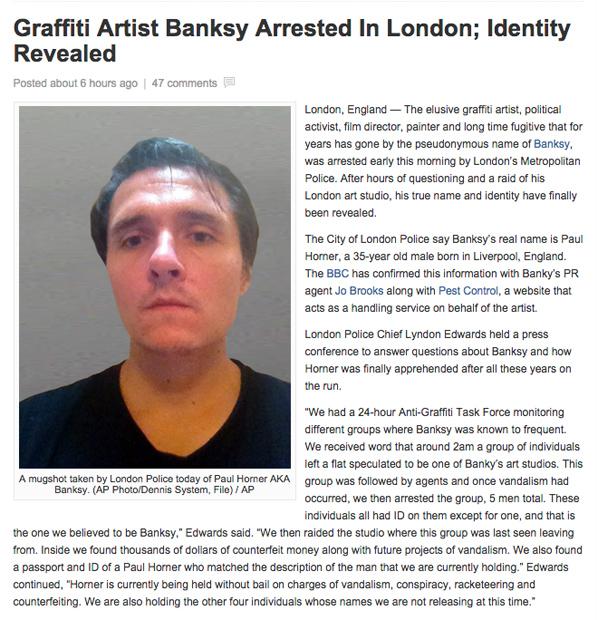 「バンクシー逮捕、実名と顔写真公開」 ネタニュースにネット上が一時騒然