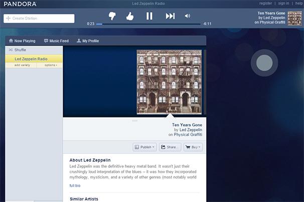「Pandora Radio」スクリーンショット