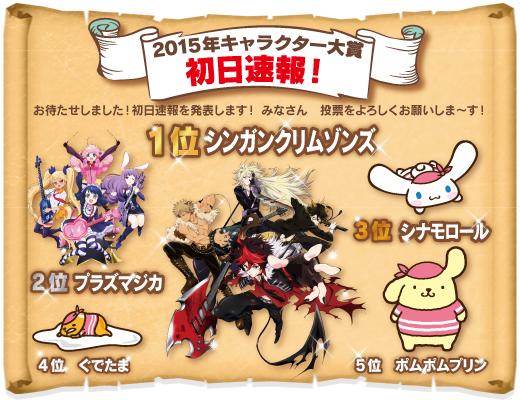 2015年キャラクター大賞 初日速報