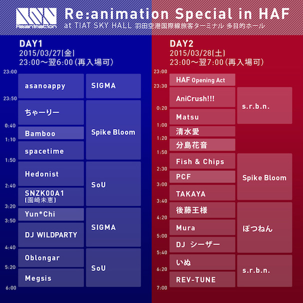 「Re:animation Special in HAF」タイムテーブル(画像は公式サイトより)/(C)2010-2015 Re:animation