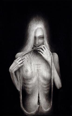 内田すずめ 拒食と自爆 2014 紙にミクストメディア 530×333mm/昨年開催の「幽霊画展2014」の出展作品より