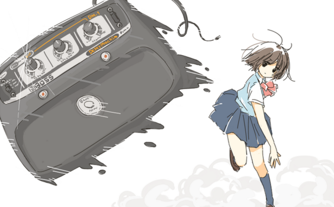エフェクターの名機・DMを投げる女子高生のイラストがかわいい