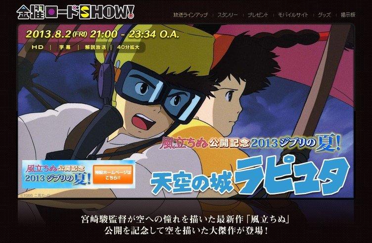 金曜ロードSHOW!でラピュタ放送 ニコ生実況にジブリ鈴木敏夫が登場