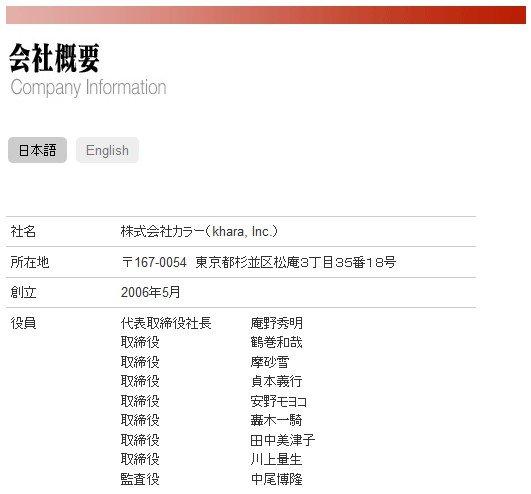 株式会社カラー 公式サイトの会社概要部分