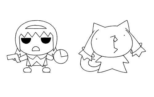針玉ヒロキのイラストによるほむらとキュゥべえ。2作のキャラクターが映像でコラボ