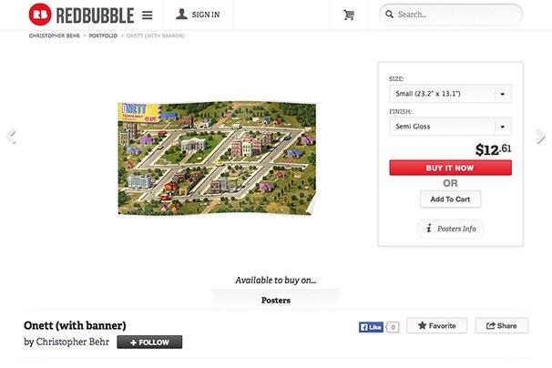 REDBUBBLEのページのスクリーンショット