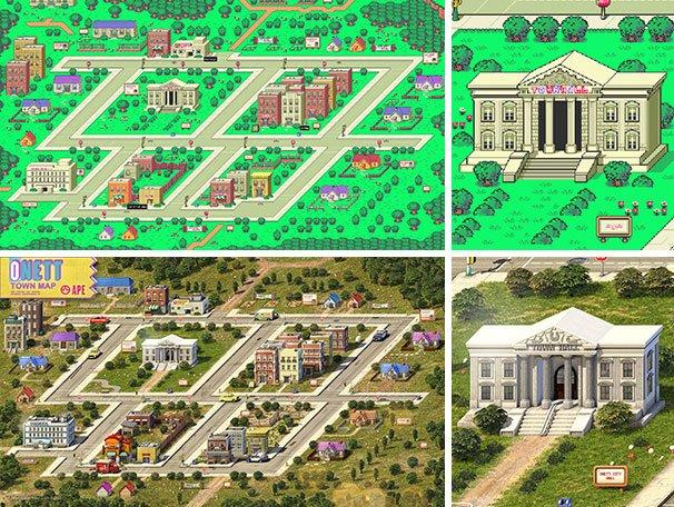 上:スーパーファミコンのオリジナル版|下:Behrさんの3Dグラフィック版 / ChristopherBehr.com ©2013