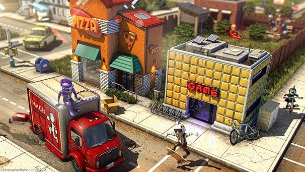 ピザ屋とゲームセンター。なまいきボーダーやおちょうしものキッド、はねっかえりキッド、そして裏庭にはフランクさまとフランキースタイン2の姿も。 / ChristopherBehr.com ©2013