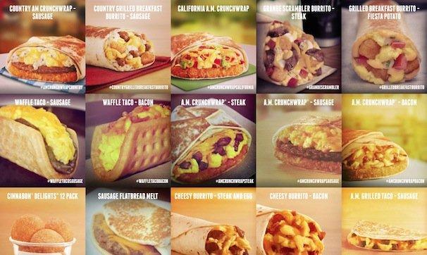 Taco Bell Breakfast(画像はTaco Bell公式サイトのスクリーンショット)/(C)2015 Taco Bell Corp. All rights reserved.