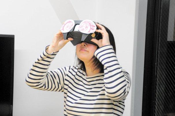 VRゲーム『アニュビスの仮面』ハコスコを覗いて、360°見渡す