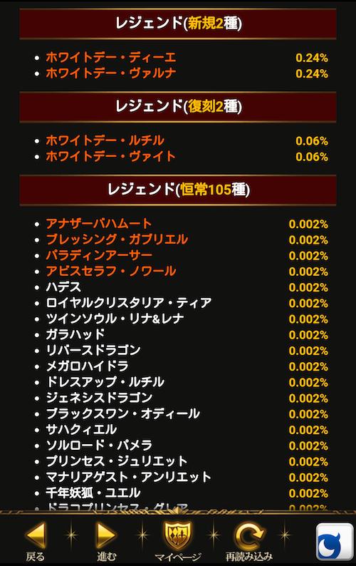 『進撃のバハムート』レアカード確率表記画面スクリーンショット