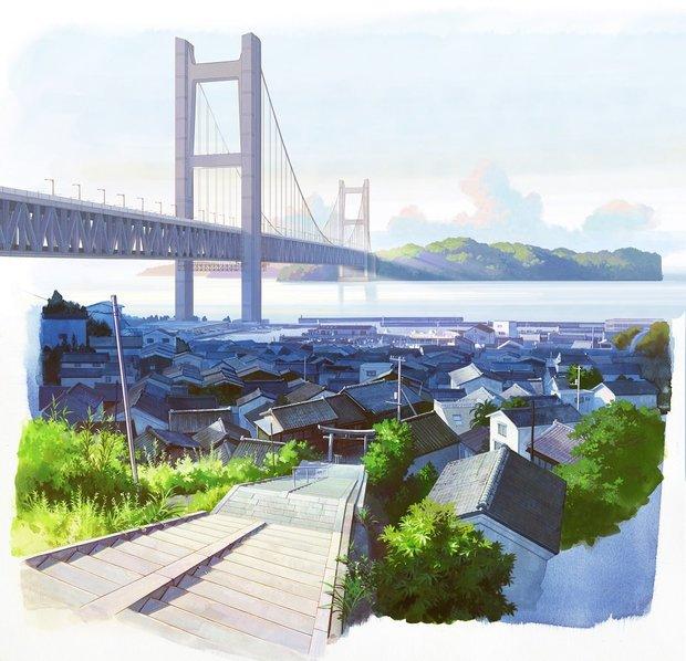 舞台となる岡山県児島の背景美術