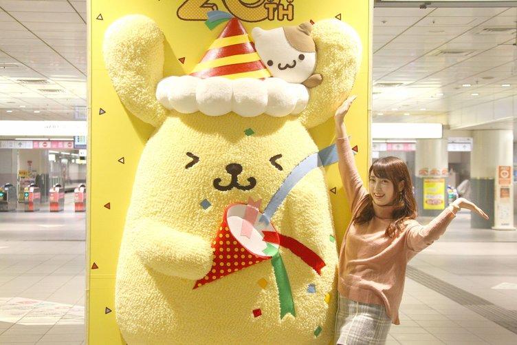 ポムポムプリン巨大ぬいぐるみが渋谷に! 今度は「なでなでプリン」