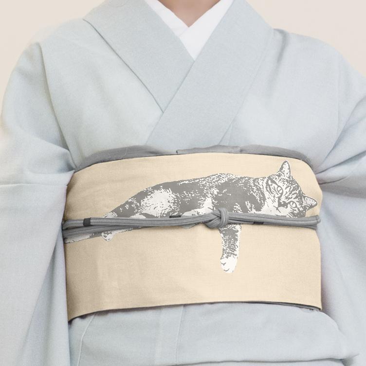 猫がくつろぐ着物帯に癒される… 『マイクラ』風ドット柄や基盤柄も
