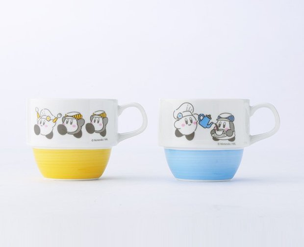 カービィカフェ ハンドペイント スタッキングマグカップ(イエロー/ブルー)