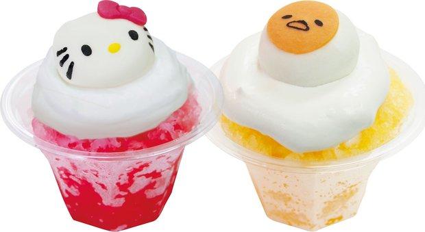 ハローキティ&ぐでたま氷パフェ(各500円)