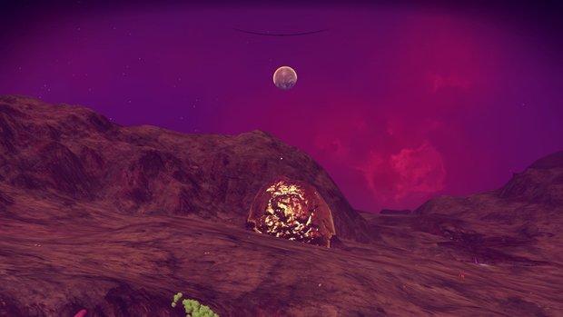 「ウエイデニアスZJ287星」動物どころか植物もいない。そして、めちゃすごい速度で酸素が減る星。しかし、金塊がそこらじゅうにあり、掘りまくって金持ちに!/『No Man's Sky』スクリーンショット