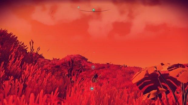 「ロコピンベルあたま星」 昼の景色。真っ赤な草原と豊かな海、豊かな植物の美しい星。動物には出会わなかった。