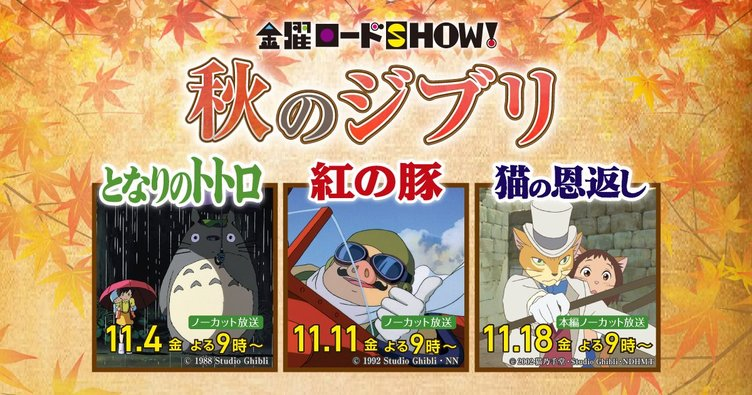 金曜ロードSHOW!でトトロ、紅の豚、猫の恩返しを3週連続放送