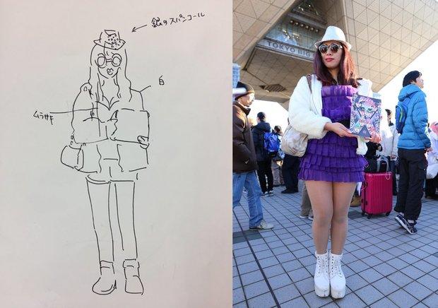 目撃した人が描いてくれたイラストと叶美香のコスプレをしたコスプレイヤーの比較画像
