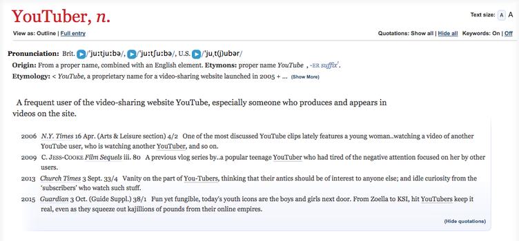 「オックスフォード英語辞典」に新語として「YouTuber」収録 広がる動画文化
