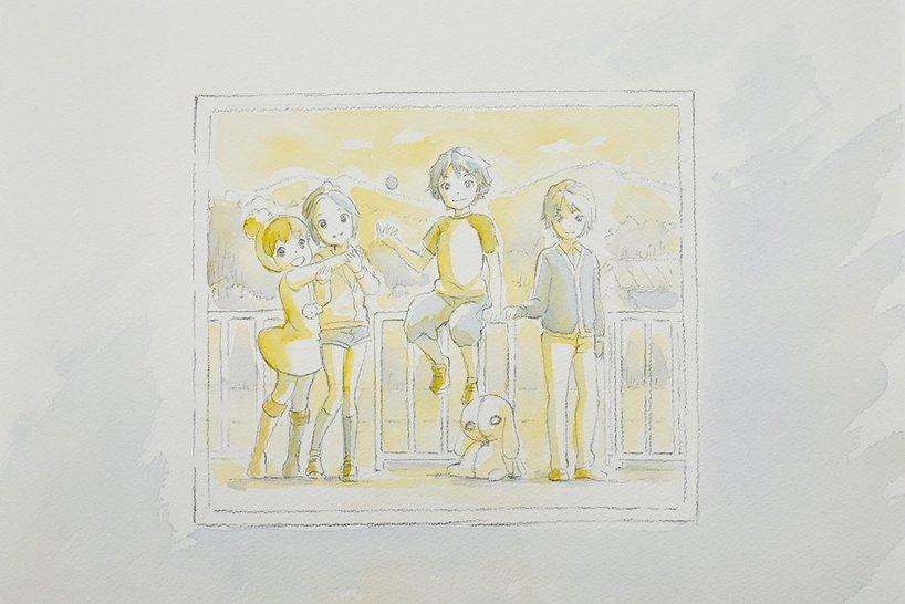 金子志津枝さんが描いた劇場版『モンスト』エンディングで使われたイラスト/主にこの4人の子供たちのカットを監督している