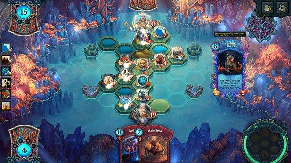 プレイヤーは神となり、海で満たされたフィールド上に「平地」や「山」、「砂漠」など、5種類の土地を創造。そして、つくった土地の上にクリーチャーを召喚し、盤面を制圧していきます。