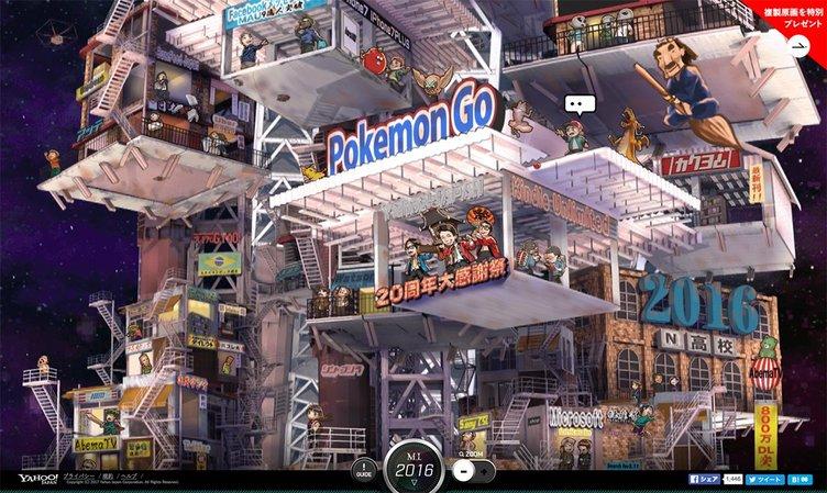 インターネット21年の歴史をヤフーが巨大イラストに 鬼才が描く超時空都市