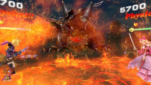『乖離性ミリオンアーサーVR』の場面。炎がプレイヤーを包む!