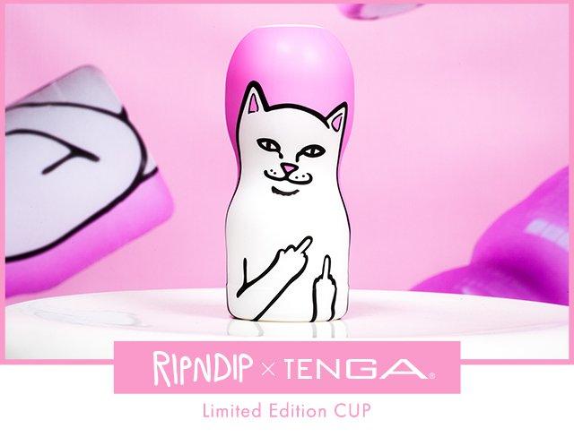 TENGAが米スケーターブランド「RIPNDIP」とコラボ! 中指立てたネコがCOOL