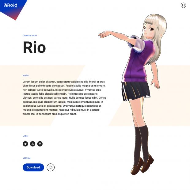 3Dキャラクターのプロフィールページイメージ