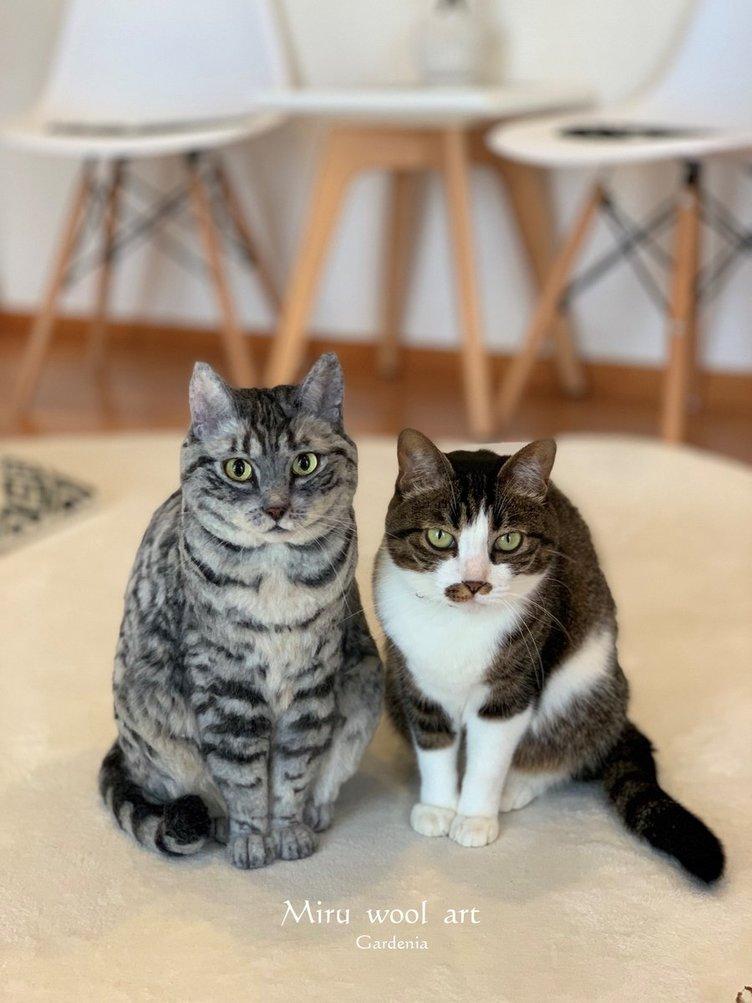どっちが本物? 超リアルな羊毛フェルト猫がまじで見分けつかない