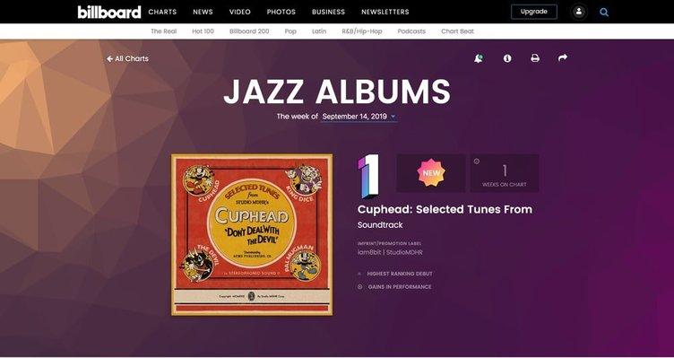『Cuphead』サントラ、米ビルボード ジャズチャートで首位 ゲーム音楽では初