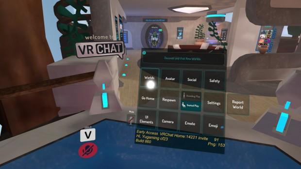 VRChatのメニュー画面