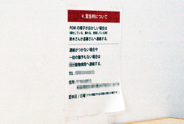 POMさんの緊急時についての張り紙