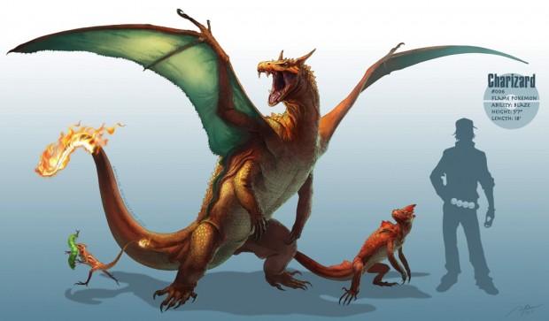 RJ Palmerさんの「Realistic Pokemon」アート:リザードン