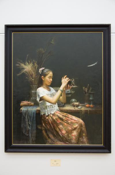 「日展」で展示中の曽 剣雄さんによる「物語」